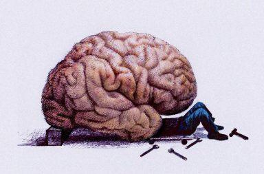 карикатура того, как человек чинит мозг