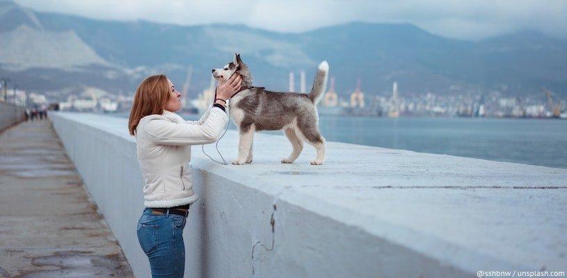 русская девушка с собакой