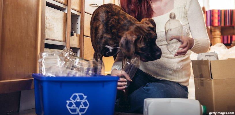 девушка сортирует мусор дома